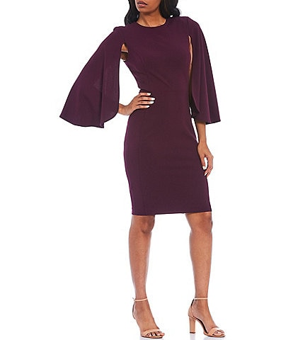 Calvin Klein Long Caplet Sleeve Scuba Crepe Sheath Dress
