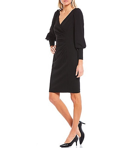 Calvin Klein Long Puff Sleeve Side Ruched Sheath Dress