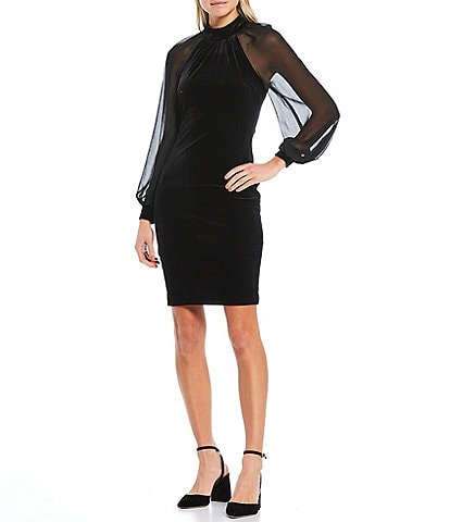 Calvin Klein Long Sheer Sleeve Velvet Sheath Dress