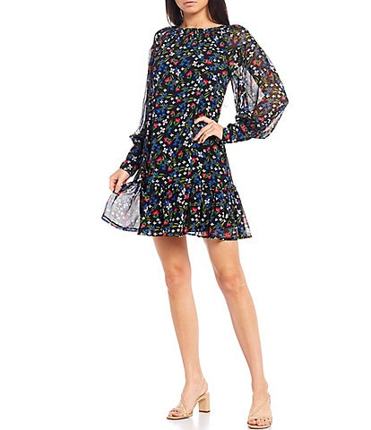 Calvin Klein Long Sleeve Floral Ruffle Chiffon Dress