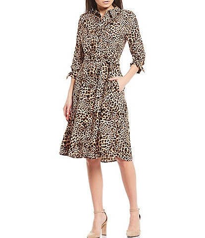 Calvin Klein Long Sleeve Leopard Print Belted Shirt Dress