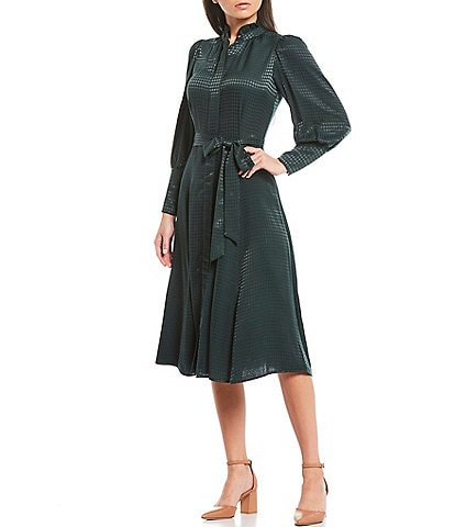 Calvin Klein Long Sleeve Ruffle Mock Neck Tie Waist Button Front Midi Shirt Dress