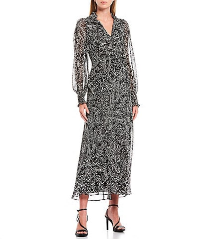 Calvin Klein Long Sleeve Smocked Cuff Detail Paisley Print Keyhole Chiffon Maxi Dress