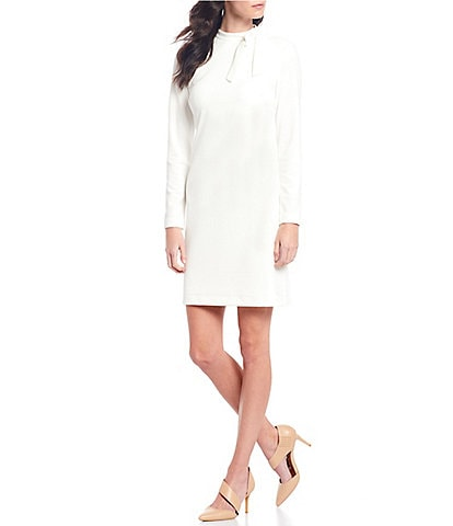 Calvin Klein Long Sleeve Tie Neck Shift Dress