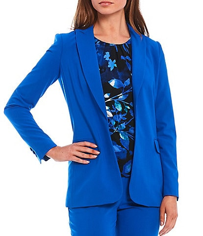 Calvin Klein Lux Stretch Suiting Peak Lapel Open-Front Jacket