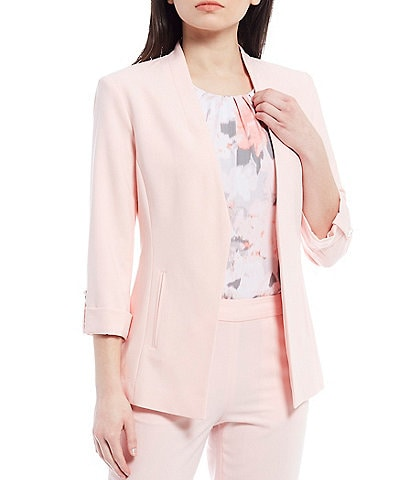 Calvin Klein Lux Stretch Suiting Roll-Tab Sleeve Cut-Away Front Hem Open-Front Jacket