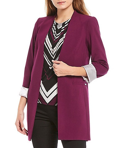 Calvin Klein Lux Stretch Suiting Rolled Cuff Open-Front Topper Jacket