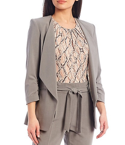 Calvin Klein Lux Stretch Suiting Wing Lapel Collar Open-Front Jacket