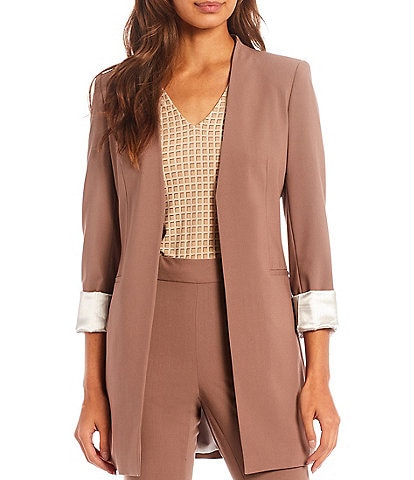 Calvin Klein Lux Stretch Woven Suiting Rolled Cuff Long Open Front Jacket