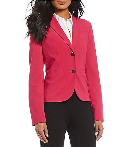 Calvin Klein Luxe Stretch Suiting Notch Collar Single Breasted Button Front Blazer Jacket
