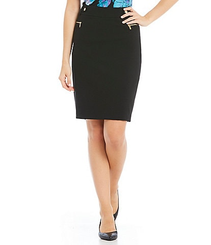 Calvin Klein Luxe Stretch Suiting Side Zip Pocket Pencil Skirt
