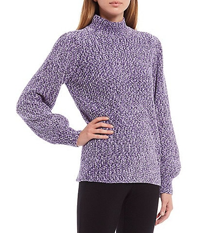 Calvin Klein Marled Chenille Mock Neck Long Puff Sleeve Sweater