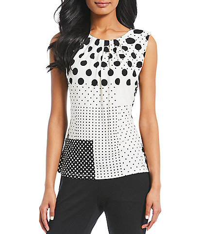 Calvin Klein Matte Jersey Colorblock Dot Top