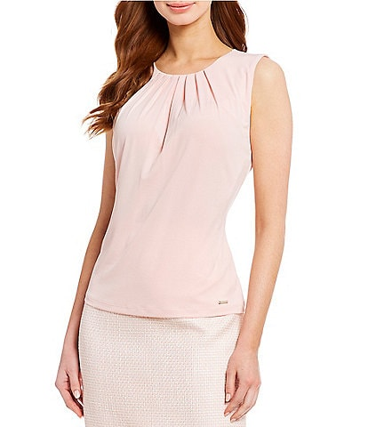 Calvin Klein Matte Jersey Pleat Neck Top
