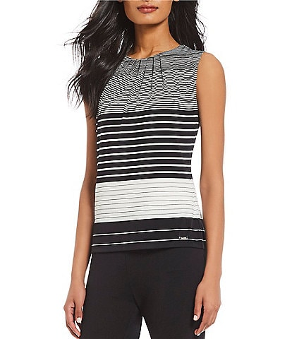 Calvin Klein Matte Jersey Stripe Pleat Neck Top