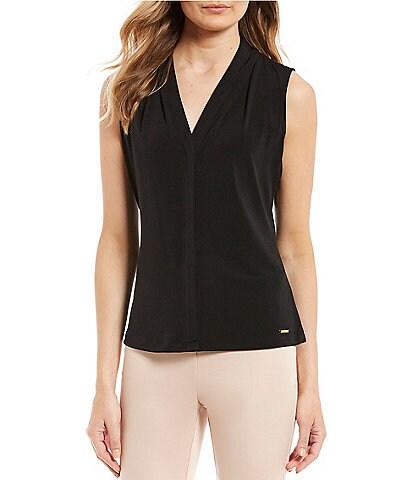 Calvin Klein Matte Jersey V-Neck Shoulder Pleat Sleeveless Top