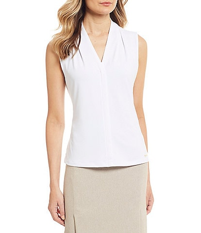 Calvin Klein Matte Jersey V-Neck Shoulder Pleat Sleeveless Top