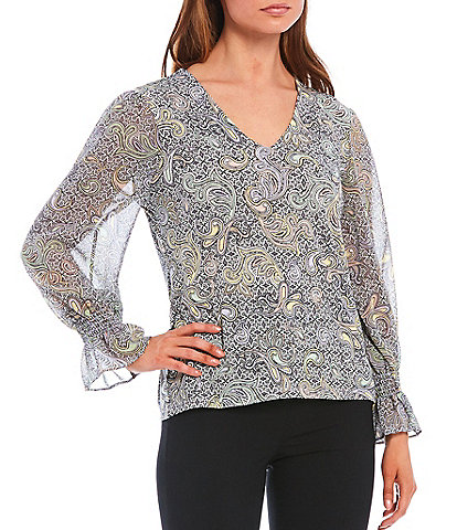 Calvin Klein Medallion Tile Print Matte Jersey Knit V-Neck Top With Chiffon Sleeves
