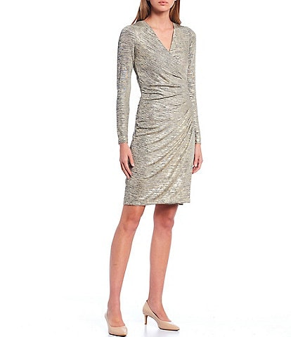 Calvin Klein Metallic Long Sleeve Ruched Waist Mock Wrap Sheath Dress