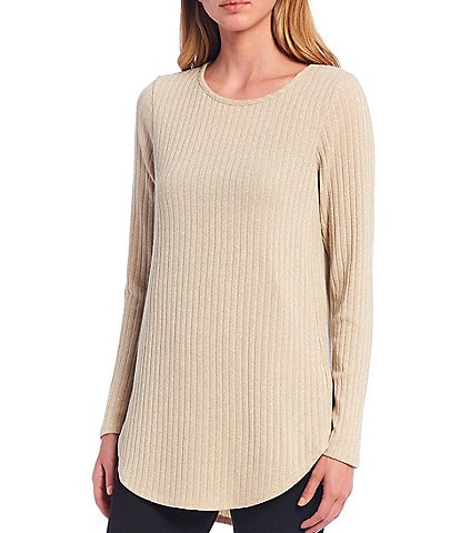 Calvin Klein Metallic Ribbed Knit Long Sleeve Hi-Low Top