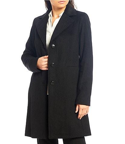 Calvin Klein Mid Length Single Breasted Wool Blend Reefer Coat