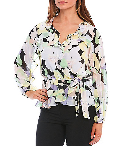 Calvin Klein Mixed Floral Print Chiffon Ruffle Trim V-Neck Long Sleeve Side-Tie Blouse