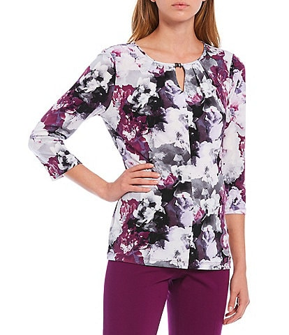 Calvin Klein Mixed Floral Print Matte Jersey Keyhole Neck 3/4 Sleeve Top