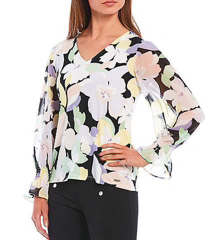 Calvin Klein Mixed Floral Print Matte Jersey Knit V-Neck Top With Chiffon Sleeves