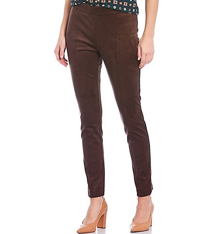 Calvin Klein Mixed Media Faux Suede and Ponte Knit Ankle Pants