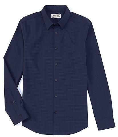 Calvin Klein Move 365 Grid Pattern Performance Stretch Long-Sleeve Woven Shirt
