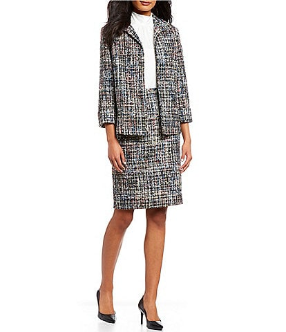 Calvin Klein Multi-Color Boucle Suiting Open-Front Jacket & Multi-Color Boucle Suiting Pencil Skirt