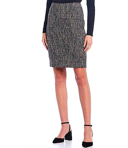 Calvin Klein Multi-Color Textured Metallic Tweed Pencil Skirt