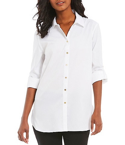 Calvin Klein Non-Iron Hi-Low Roll-Tab Blouse