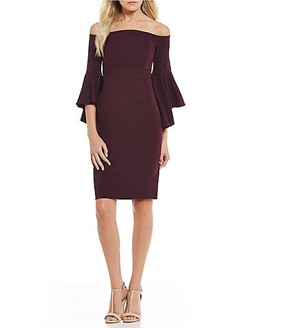 Calvin Klein Off-the-Shoulder Flutter Bell Sleeve Sheath Dress