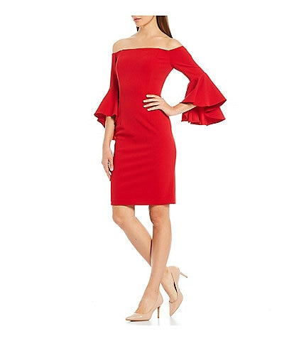 Calvin Klein Off-the-Shoulder Flutter Bell Sleeve Dress