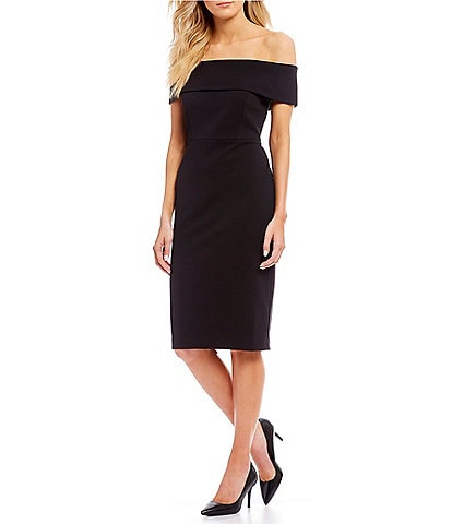 Calvin Klein Off the Shoulder Solid Sheath Dress
