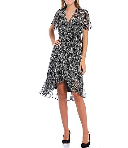 Calvin Klein Paisley Short Sleeve Chiffon Hi-Low Dress