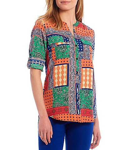 Calvin Klein Patchwork Print Crepe de Chine Roll-Tab Sleeve Button Front Top