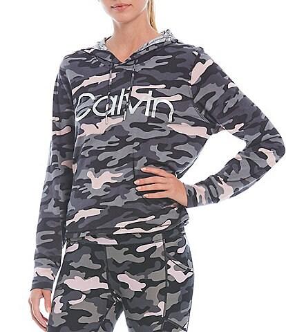 Calvin Klein Performance Camo Print Long Sleeve Comfort Stretch Hooded Coordinating Tee