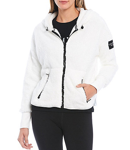 Calvin Klein Performance Drop Shoulder Front Zip Sherpa Hoodie
