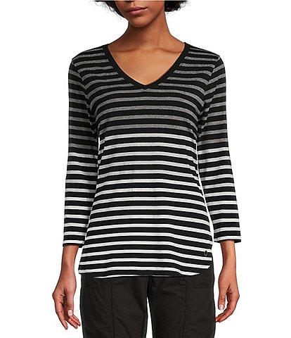 Calvin Klein Performance Fade Out Stripe 3/4 Sleeve Round Hem Tee