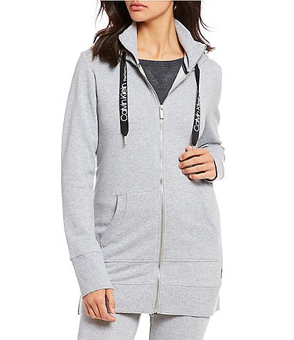 Calvin Klein Performance French Terry Zip Front Long Hoodie