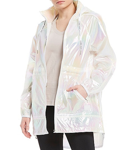 Calvin Klein Performance Iridescent Hi-Low Hem With Stow Hood Jacket