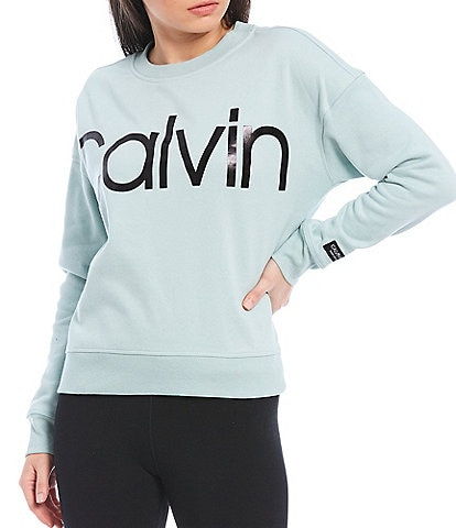 Calvin Klein Performance Jumbo Foil Calvin Logo Drop Shoulder Crew Neck Stretch Fleece Pullover