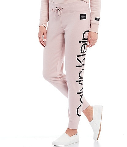 Calvin Klein Performance Jumbo Logo Full Length Rib Cuff Fleece Jogger