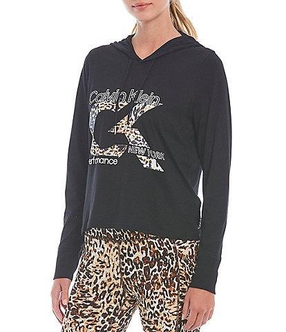 Calvin Klein Performance Long Sleeve Animal Print Logo Hooded Tee