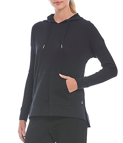 Calvin Klein Performance Long Sleeve Relax Fit High-Low Waffle Hoodie