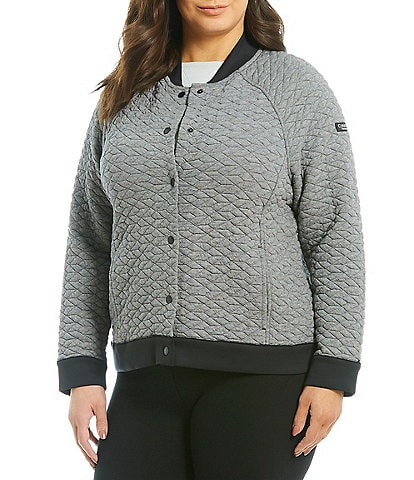 Calvin Klein Performance Plus Size Quilted Jacquard Bomber Jacket