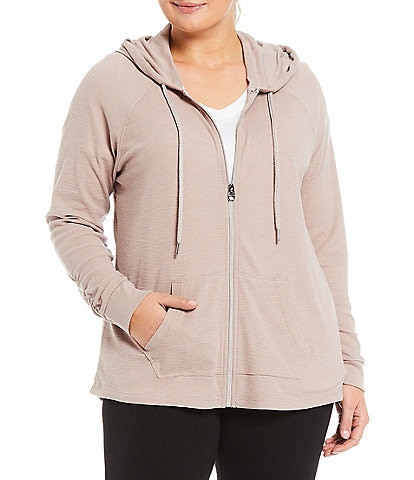 Calvin Klein Performance Plus Size Ruched Long Sleeve Zip Front Hoodie Jacket
