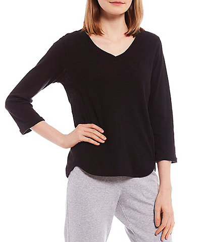 Calvin Klein Performance Rolled Cuff 3/4 Sleeve V-Neck Tee